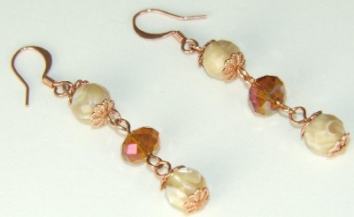 Vintage Style Mother of Pearl and Crystal Earrings