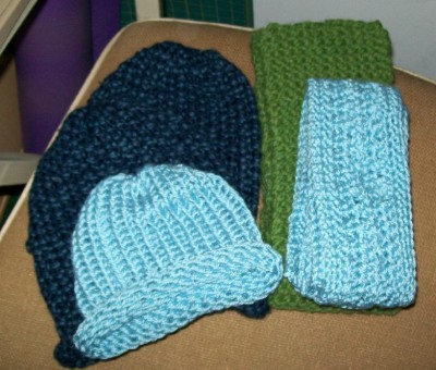 3 hats and 2 scarves for May 2012 charity drive